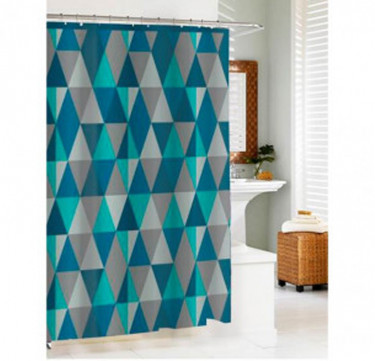 Blue Triangle Shower Curtain with Hooks