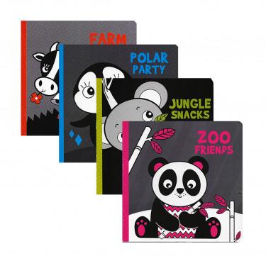 """Black & White Board Book: """"Farm Sounds"""", """"Zoo Friends"""", """"Polar Party"""", """"Jungle Snacks"""""""