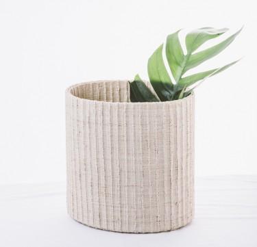 Natural Raffia Braided Stripes Waste Bin