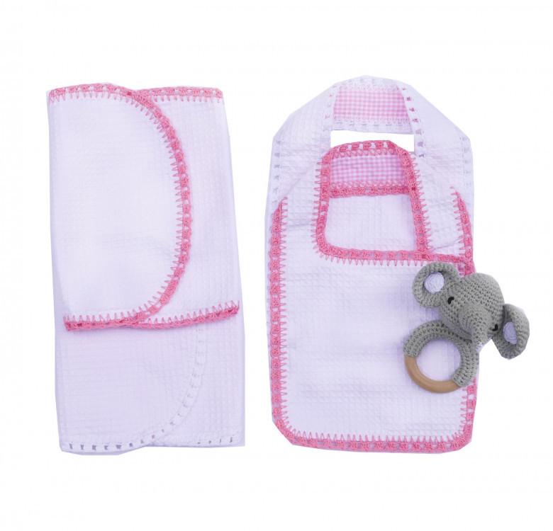 Pack of 2 Hand-crocheted Bib & Burp Cloth Set (Pink and White)