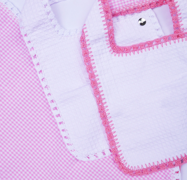 Pack of 2 Hand-crocheted Bib & Burp Cloth Set (Pink and White)