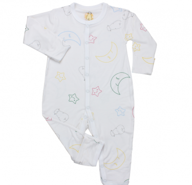 Button Long Sleeve Romper (Colorful Moon & Star, White)