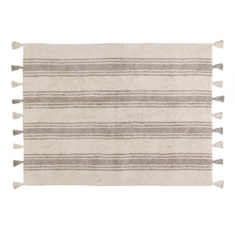 Stripes Glacier Grey Washable Rug