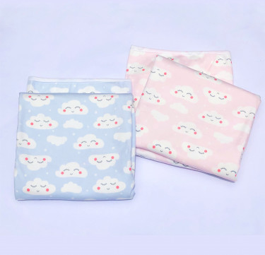 Cheerful Clouds Flannel Baby Blanket