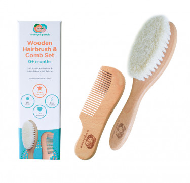 Wooden Hairbrush and Comb Set