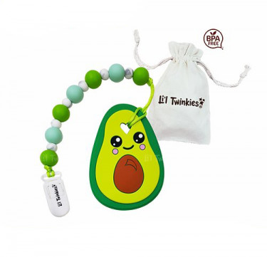 Teether with Clip-on (Avocado)