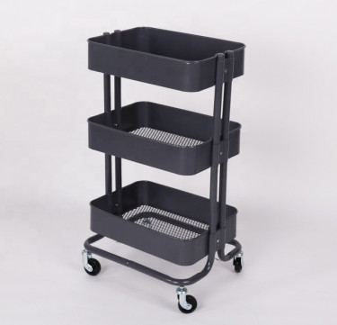 3-Tier Black Utility Cart