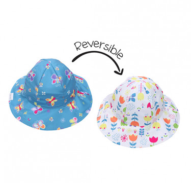 UPF50 Baby/Toddler Reversible Bucket Sunhats - Butterfly/Floral