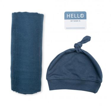 Navy Baby Bamboo Bonnet & Swaddle Set (Hello World)