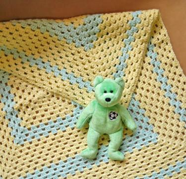 Yellow & Mint Baby Blanket