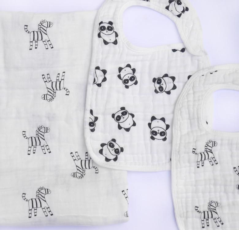 Pack of 2 Muslin Snap Bibs (Zebras & Pandas)