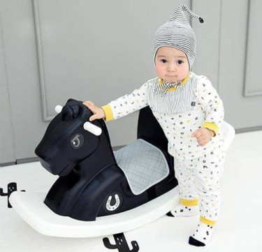 Modern Black Rocking Horse with Saddle