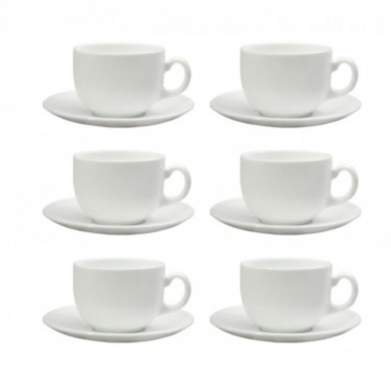 Diwali 7oz White Coffee Cup and 14 cm Saucer Set of 6
