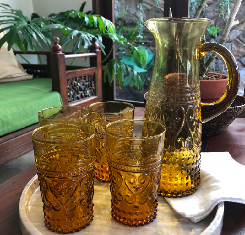 Tall Amber Pitcher & Glass Set of 5