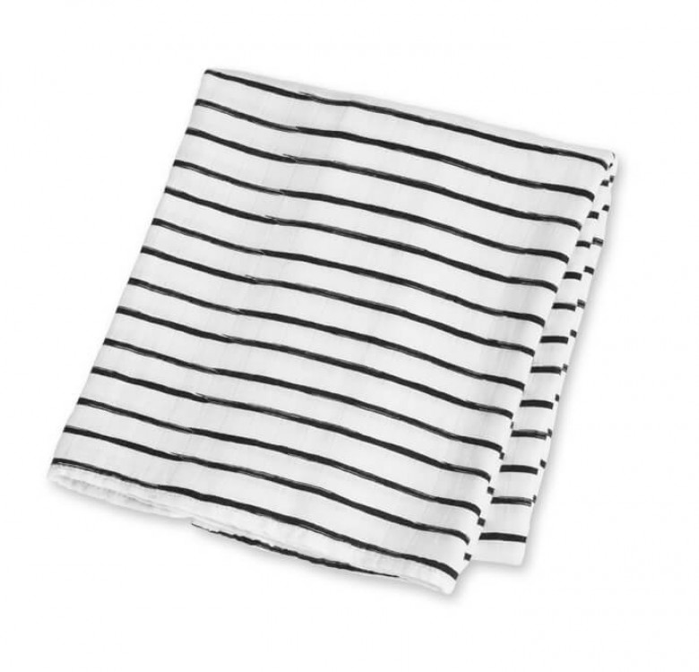 Black Messy Stripe Bamboo Muslin
