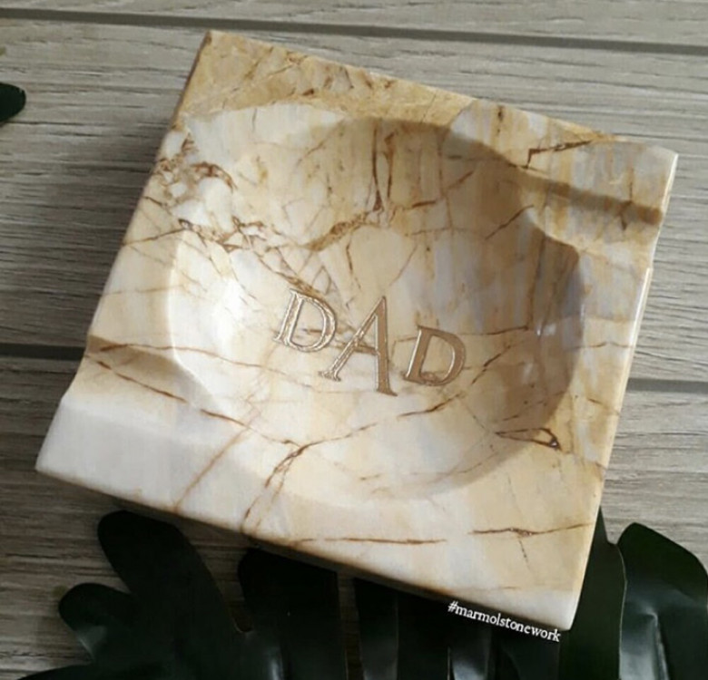Monogrammed Marble Tobacco Ashtray