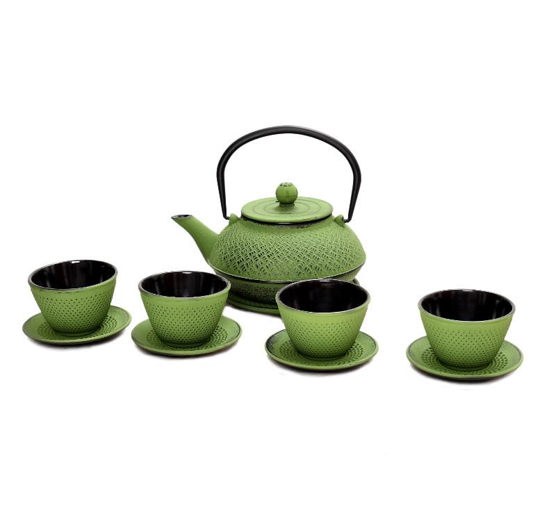 Green Cast Iron Teapot Set