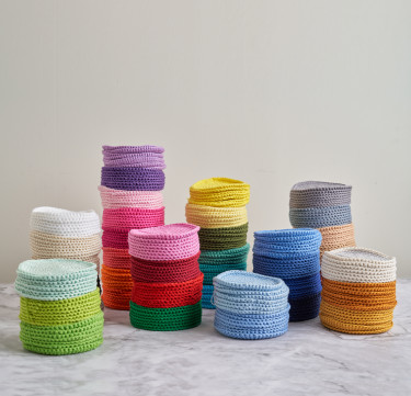 Spiral Double-Thread Hand-Crocheted Coasters