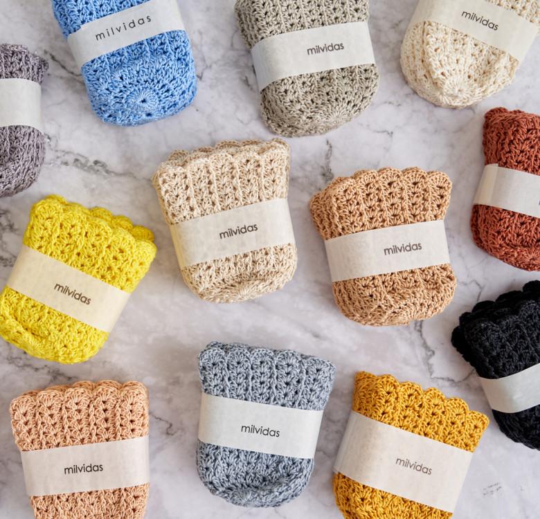 Hand-Crocheted Glass Huggers Set of 6