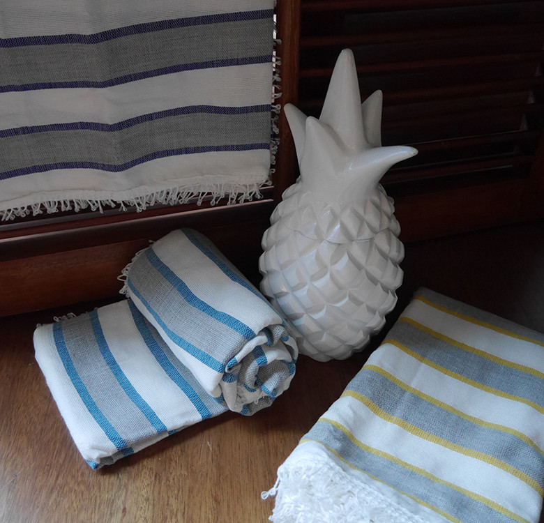 Grey & White Striped Throw