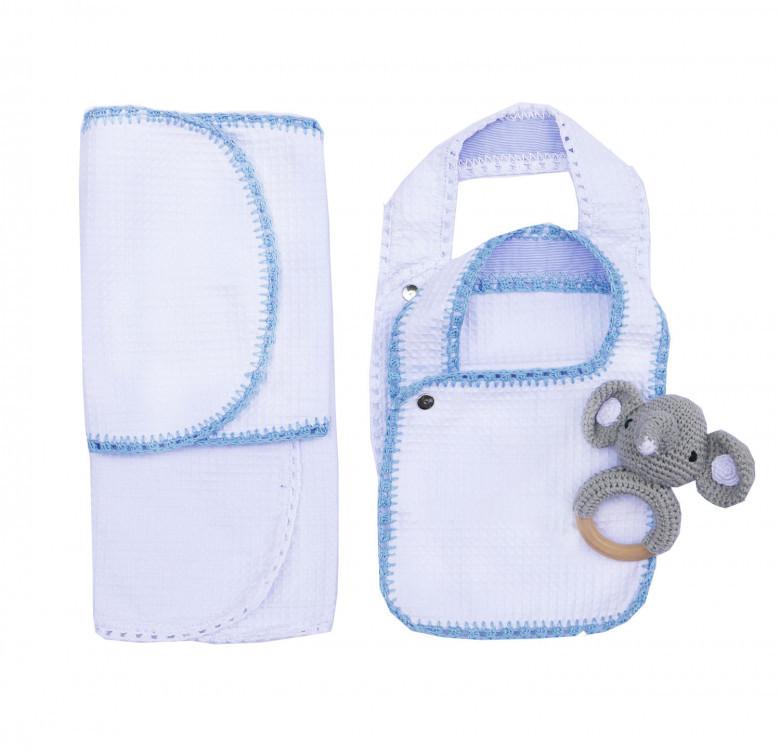 Pack of 2 Hand-crocheted Bib & Burp Cloth Set (Powder Blue and White)