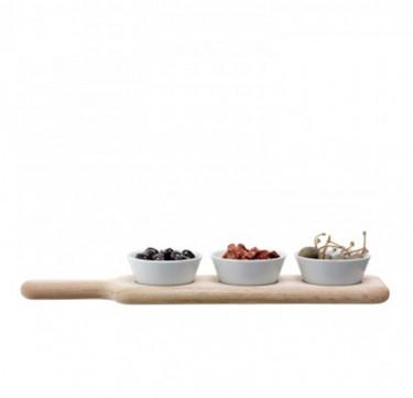 40cm Paddle Bowl Set & Oak Paddle
