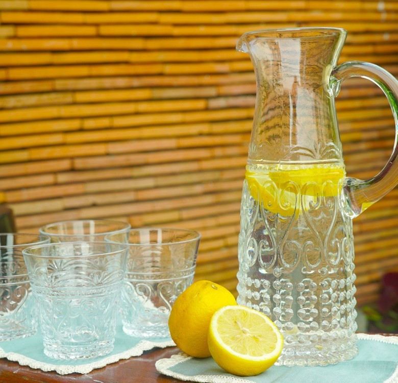 Small Clear Pitcher & Glass Set