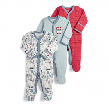 3-Pack Town Sleepsuits