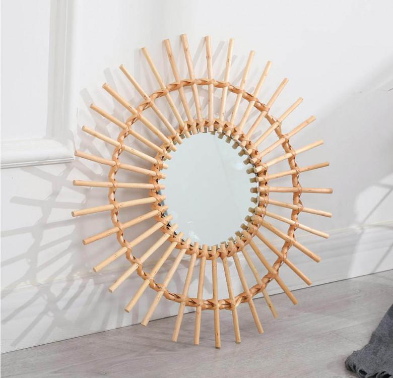Sunburst Rattan Mirror