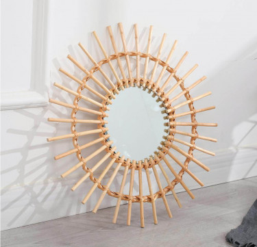 Sunburst Rattan Mirror