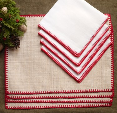 Raffia Linen Placemat & Napkin Set for 4 (Christmas Cheer)