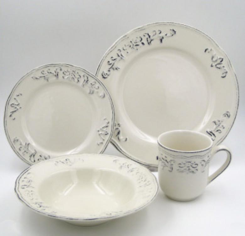 16-Piece Athens Dove Stoneware Dinner Set