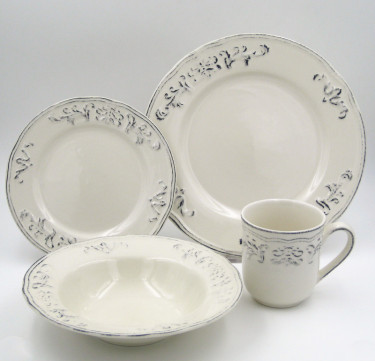16-Piece Athens Dove Stoneware Dinner Set