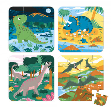 4 Progressive Difficulty Puzzles Dinosaurs