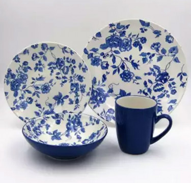 16-Piece Laura Blue Stoneware Dinner Set