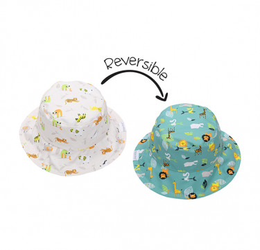 UPF50 Baby/Toddler Reversible Bucket Sunhats - Grey Zoo