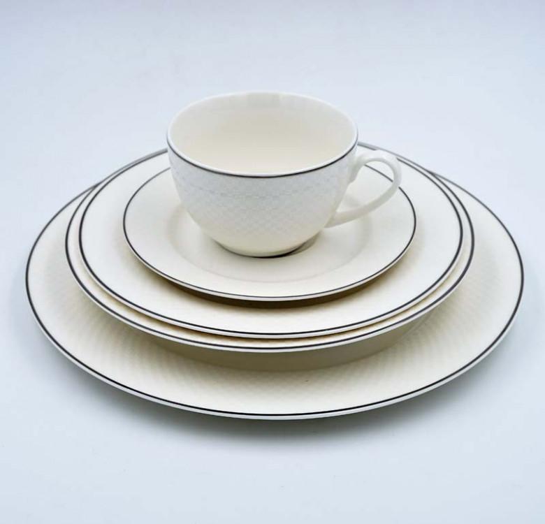 20-Piece Bone China Dinner Set - Classic White in Gold or Silver Rim