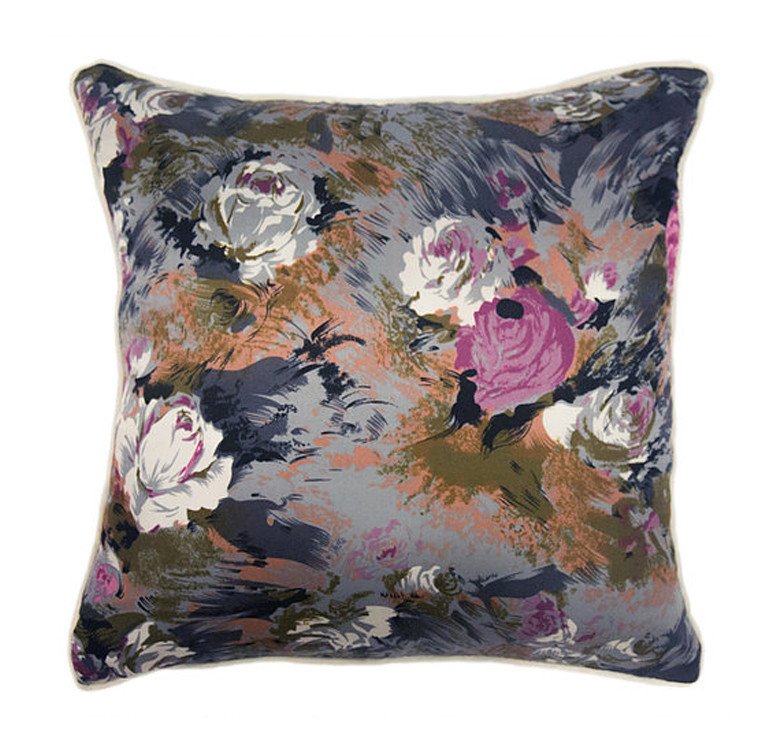 Gray Floral Silk