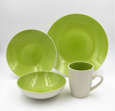 16-piece Luna Lime Stoneware Dinner Set