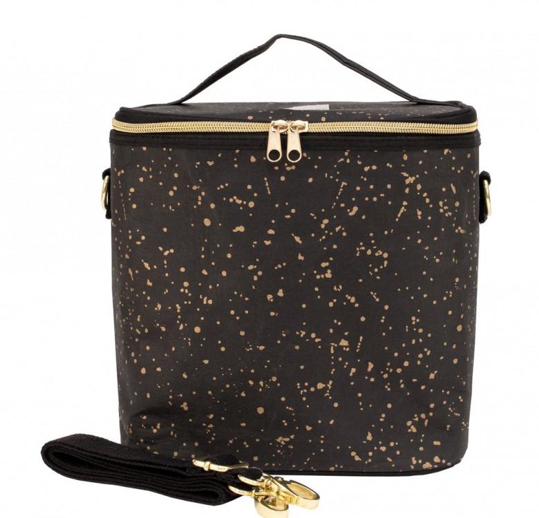 Large Cooler & Lunch Bag (Black w/ Gold Splatter)