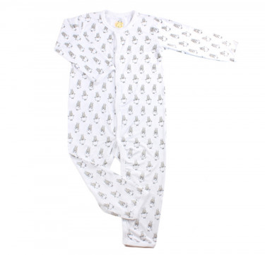 Button Long Sleeve Romper ( Small Sheepz, White)