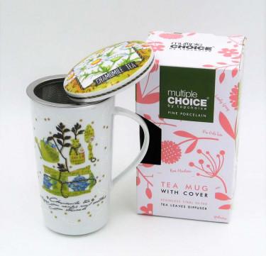 Tea Mug with Strainer and Cover (Chamomile)