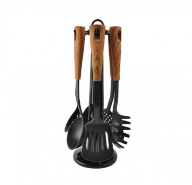 6-Piece Nylon Utensil Set with Wooden Handles HI-963