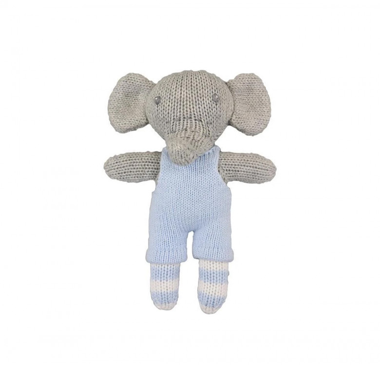 Elephant Hand-knit Rattle & Cotton Doll