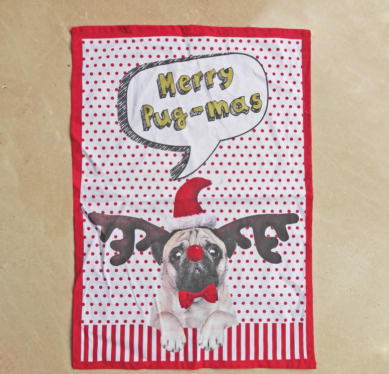 Merry Pug-mas Kitchen Towel