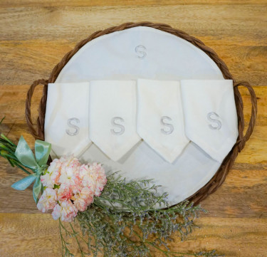 French Tray with Personalized Cocktail Napkins Set of 4