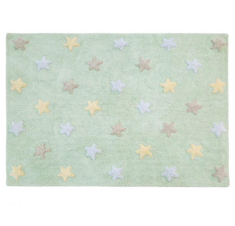 Lorena Canals Tricolor Stars Soft Mint Washable Rug