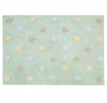 Tricolor Stars Soft Mint Washable Rug