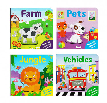 "Peep-Through Pals Board Book: ""Jungle"", ""Farm"", ""Pets"", ""Vehicles"""
