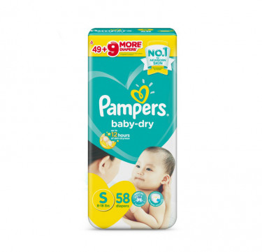 Pampers Baby-Dry Diapers (Small, 58pcs)